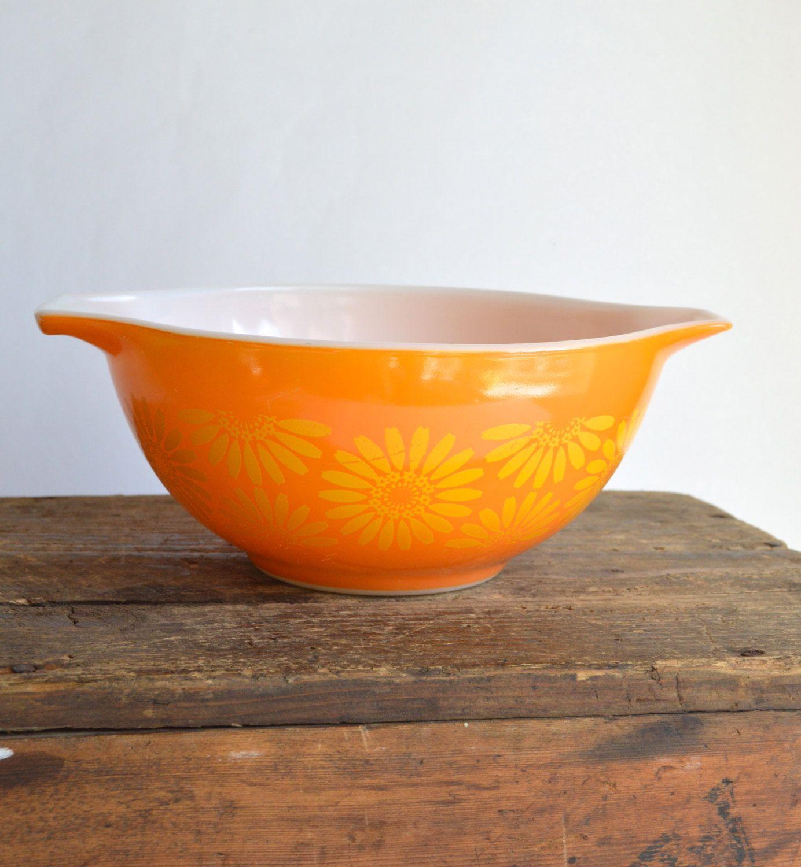 Orange Daisy Pyrex Cinderella Mixing Bowl #402 Vintage Pyrex by ...