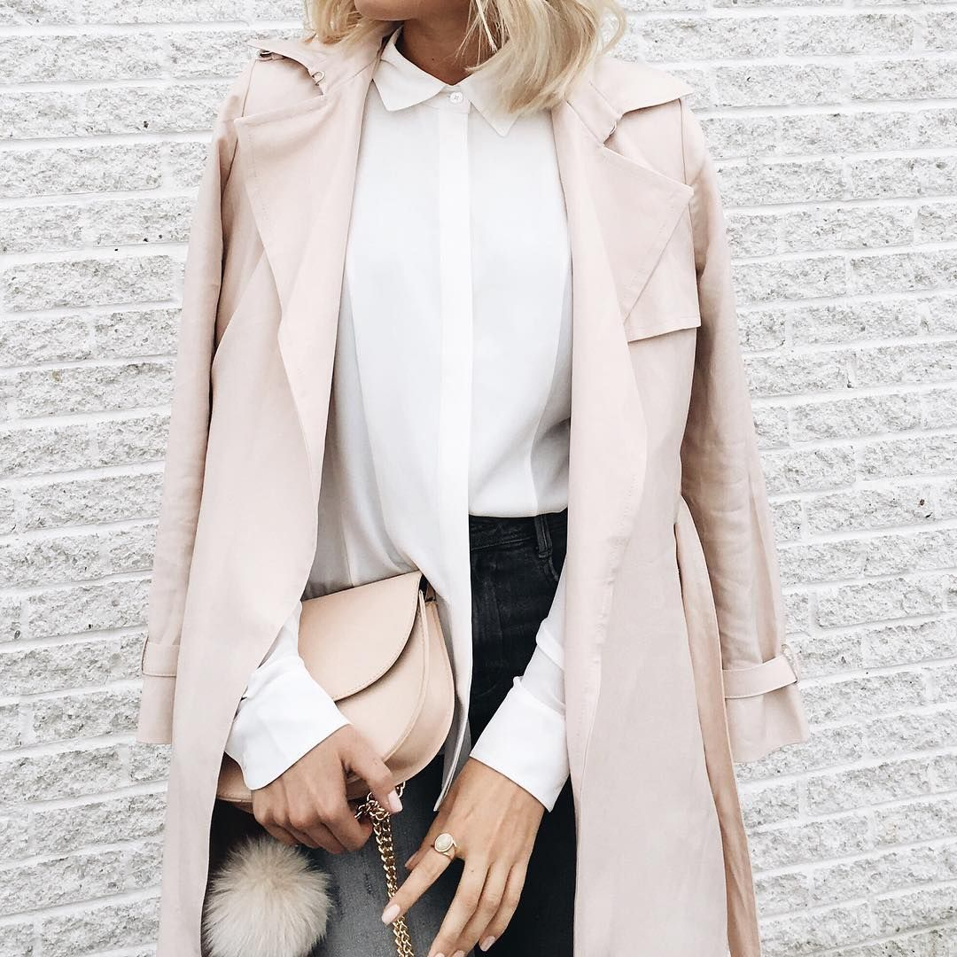 a blush trench coat