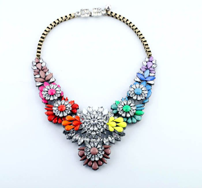 New Fashion Hot Gorgeous Crystal Rainbow Neon Necklace Resin Women Luxury Bubble Statement Bib Necklace Inspired Free Shipping $19.75