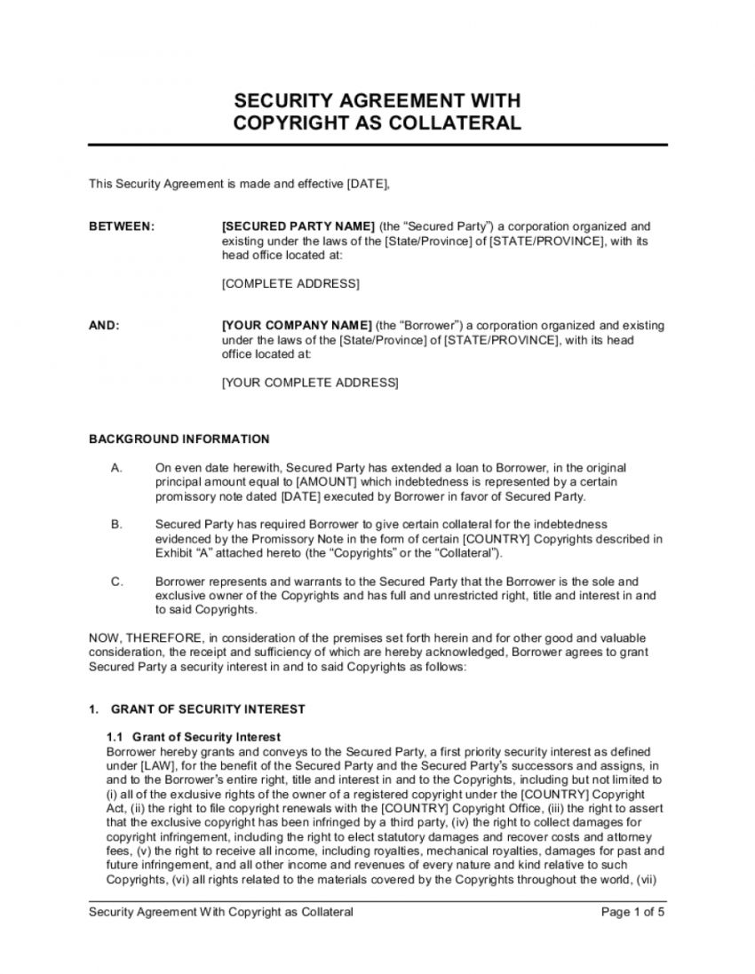 Get Our Image of Collateral Agreement Template for Free in