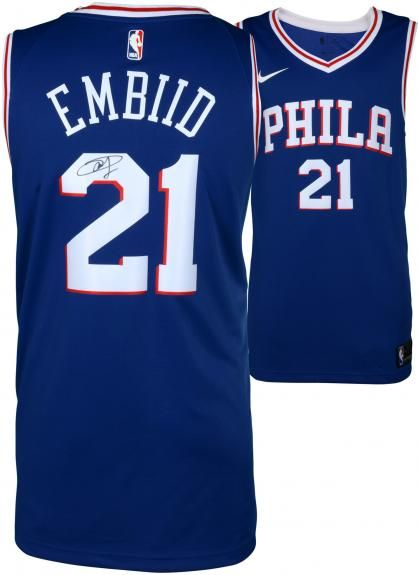 c113be43bc7 Joel Embiid Philadelphia 76ers Autographed Blue Nike Swingman Jersey -  Authentic Signed