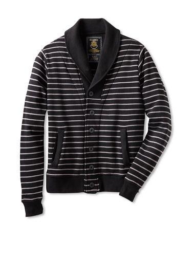 70% OFF Division Men\'s Shawl Collar Cardigan (Black/Grey Stripe)