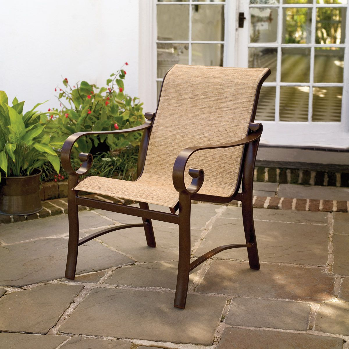 vinyl mesh fabric for sling chairs beach chair sale how to paint outdoor i patio porch and