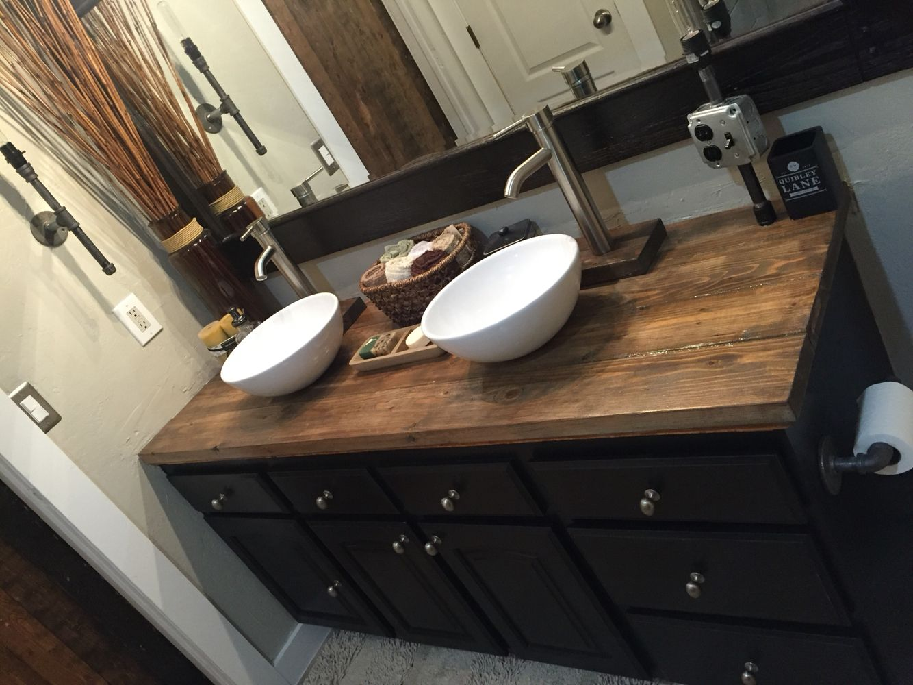 Rustic Bathroom Wood Countertop Vessel Sink My Diy Project Stained