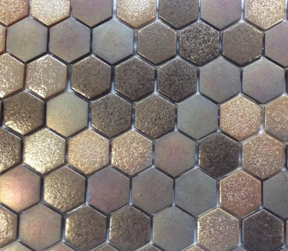 Brun Dor Hexagone Mosaque maux Brillant Magma Plaque Htk