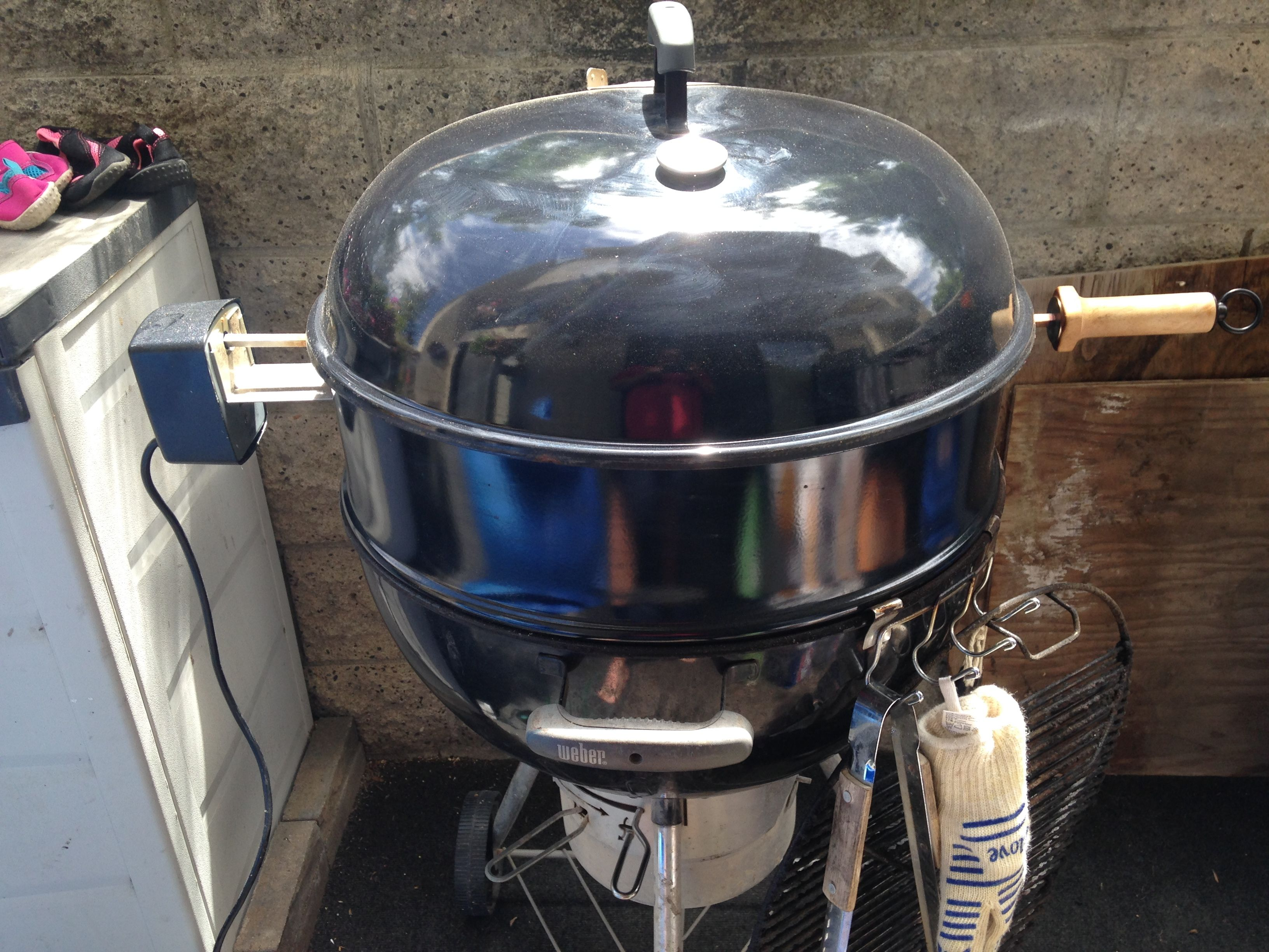 My 22 1 2 Weber Kettle With Rotisserie Ring Added Kitchen Aid Mixer Kitchen Aid Weber Kettle