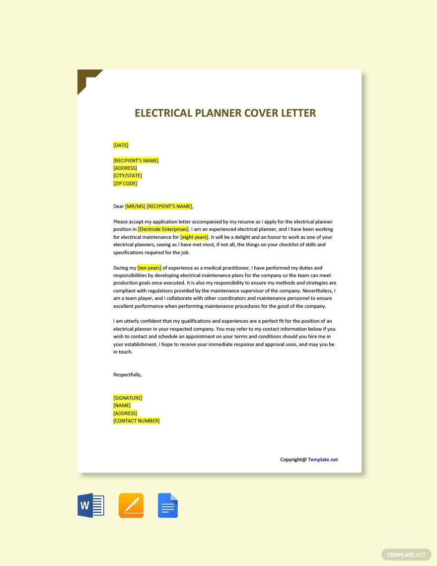 [SCHEMATICS_48IU]  Free Electrical Planner Cover Letter Template in 2020 | Project manager  cover letter, Cover letter template, Cover letter template free | Electrical Planner |  | Pinterest