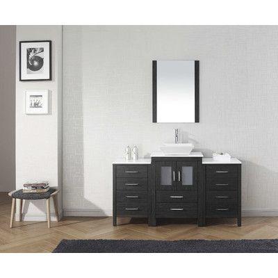 "Virtu Dior 60"" Single Bathroom Vanity Set with Mirror Base Finish:"