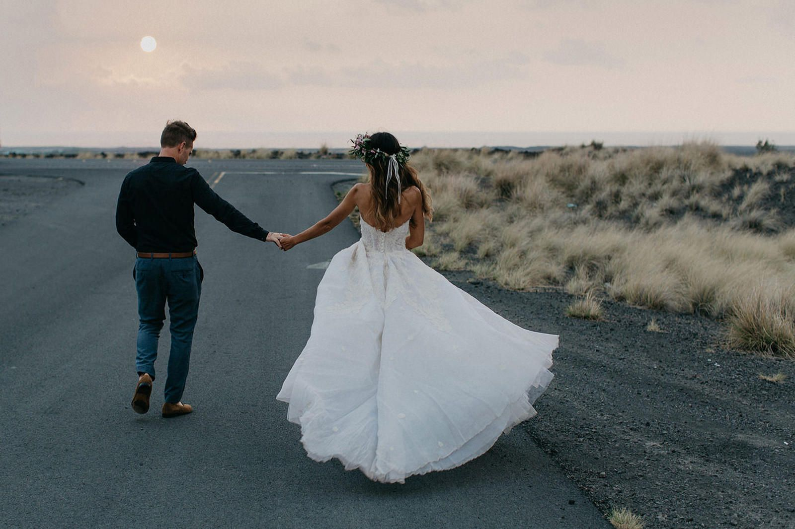 Bohemian island wedding with a ballgown lace dress hawaii