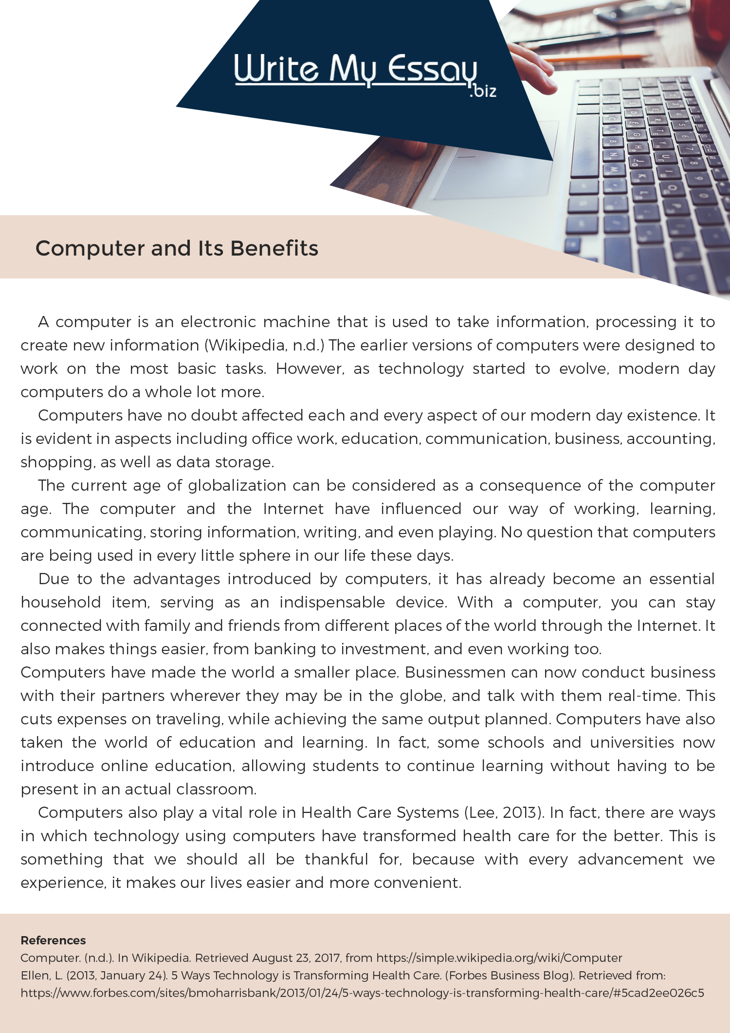 Need A Great Example Of Essay On Computer And It Benefit Check Thi One Out More Like Here Http Www Writemyessay Biz Comp Myself Writer Technology