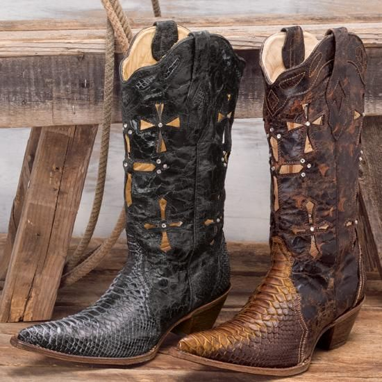 c34474e294a Corral Vintage Cross Python Boots | yeehaw :) | Boots, Bootie boots ...