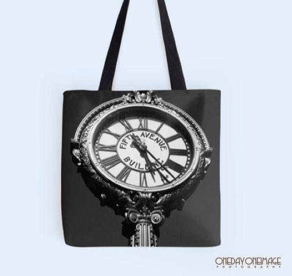 Clock Retro Tote Bag - Tick Tock on 5th - NYC - Fine Art Photography #shoplocal #pottiteam