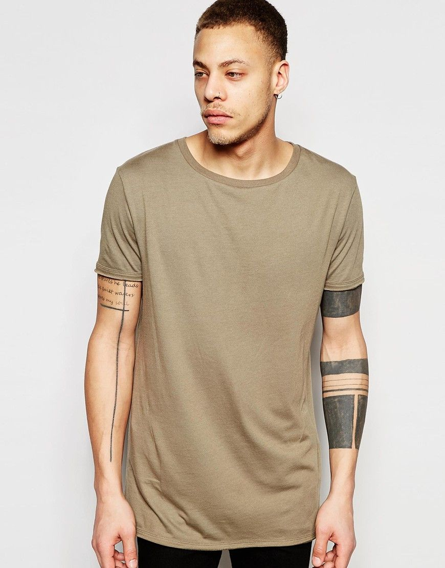 ASOS Longline T-shirt With Stretch Neck And Curve Hem In Brown at asos.com