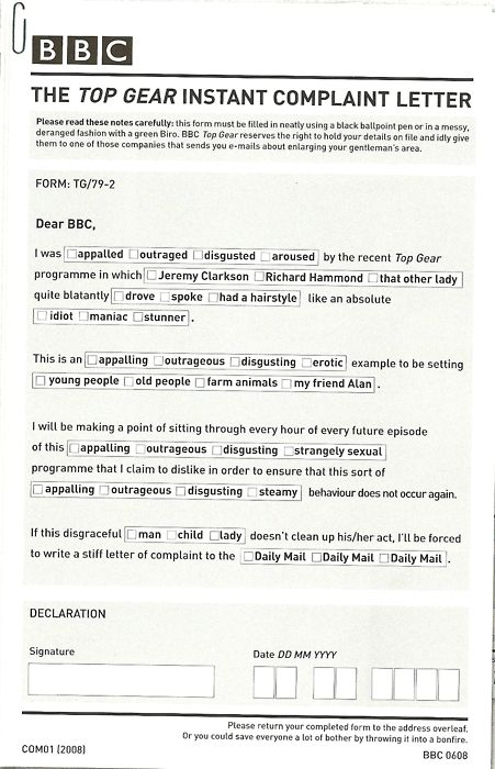 Complaint Letters To Companies Fascinating Top Gear Complaint Letter Funny Shit  Pinterest
