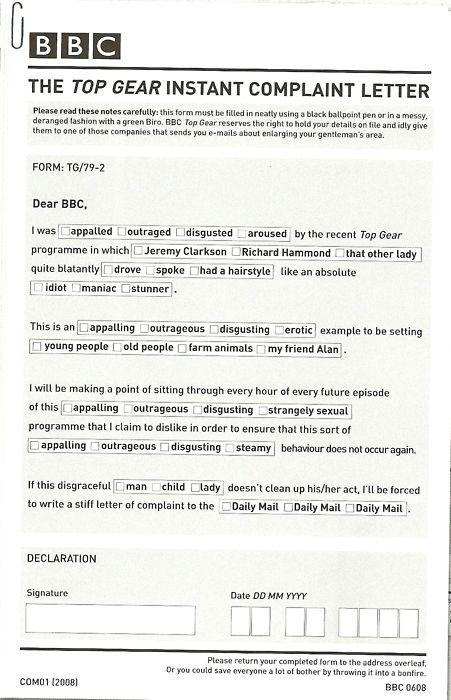 Top Gear Complaint Letter For Dan Nisbet  Top Gear Uk
