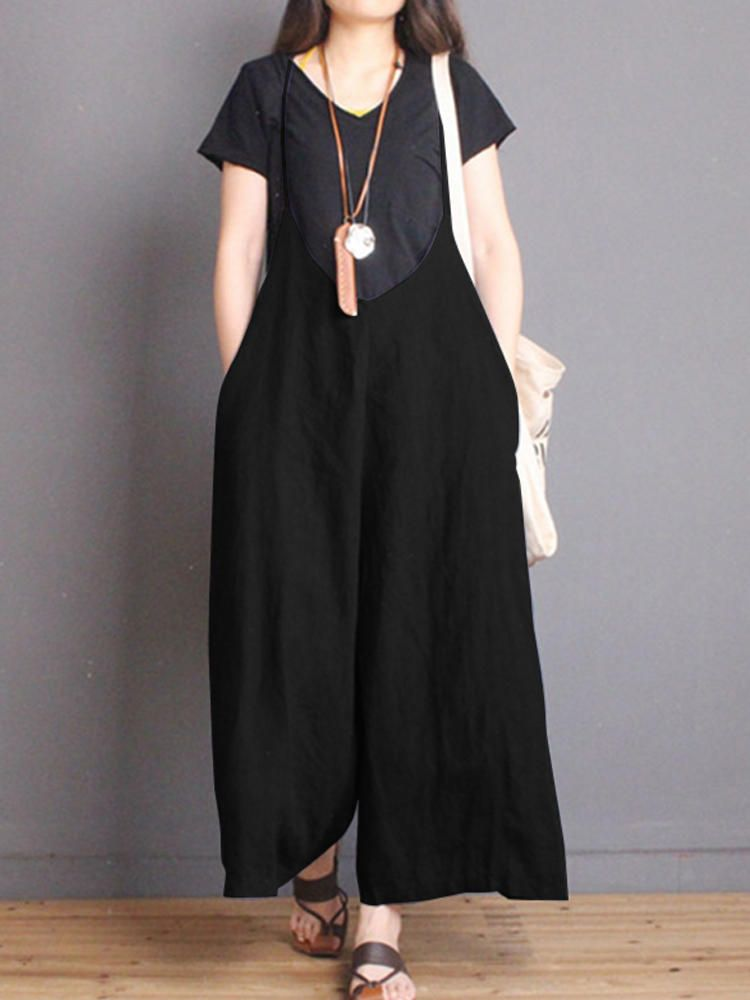 47b1061e8bcd3 Women Sleeveless Strappy V Neck Long Wide Leg Jumpsuit - Banggood Mobile