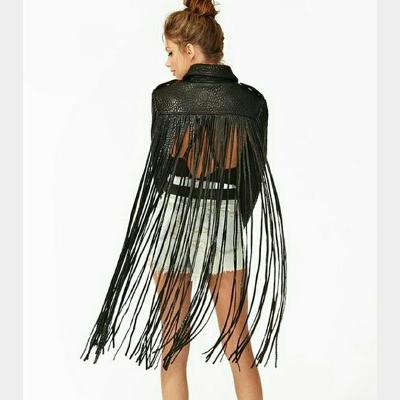 Nastygal Fringe leather jacket Super cool fringe leather jacket with open back Nasty Gal Jackets & Coats