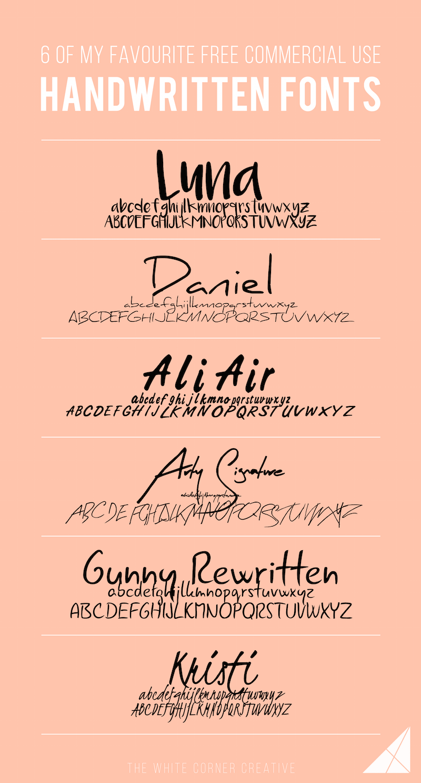 6 of My Favourite Free Handwritten Fonts Free