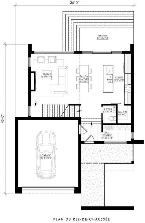 Plan de Maison Moderne Ë_142 Leguë Architecture Maison Pinterest