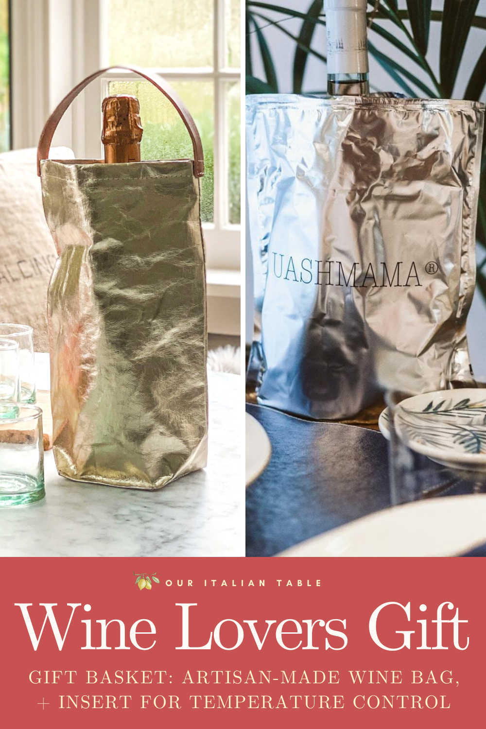 Send the best gift bundle to that special wine aficionado in your life: a collection of artisan made wine accessories. Each gift set includes a handmade wine bag from Tuscany and an insert to control the wine temperature. This is the perfect hostess gift, or holiday gift for wine lovers. #winegifts #giftsforwinelovers #hostessgift #hostessgifts #winebag #winetote #foodiegifts #foodiegift #giftsforfoodie #artisanmade #madeinitaly #holidaygifts #giftbasket #holidaygiftideas