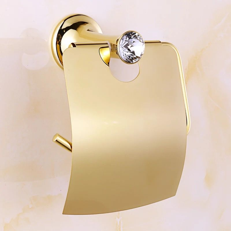 Bathroom Gold Paper Holder With Crystal Stone Wall Paper Hangs Paper Towel Holder Archaize Waterproof Toilet P Bathroom Fixtures Gold Paper Stones And Crystals