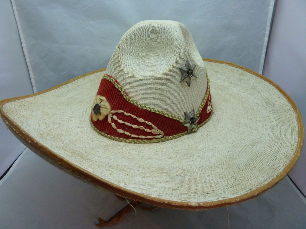 True Vintage 1940s Authentic Mexican Palm Leaf Sombrero Hat w  Red Felt    Stars  Sombrero 8b9ae612563