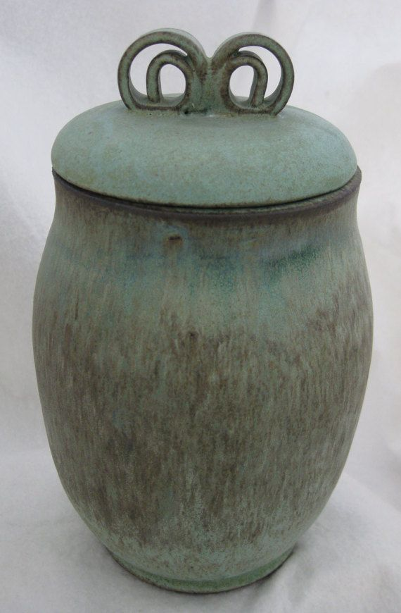 Green Wheel Thrown Ceramic Jar With Lid By Throwingmudceramics