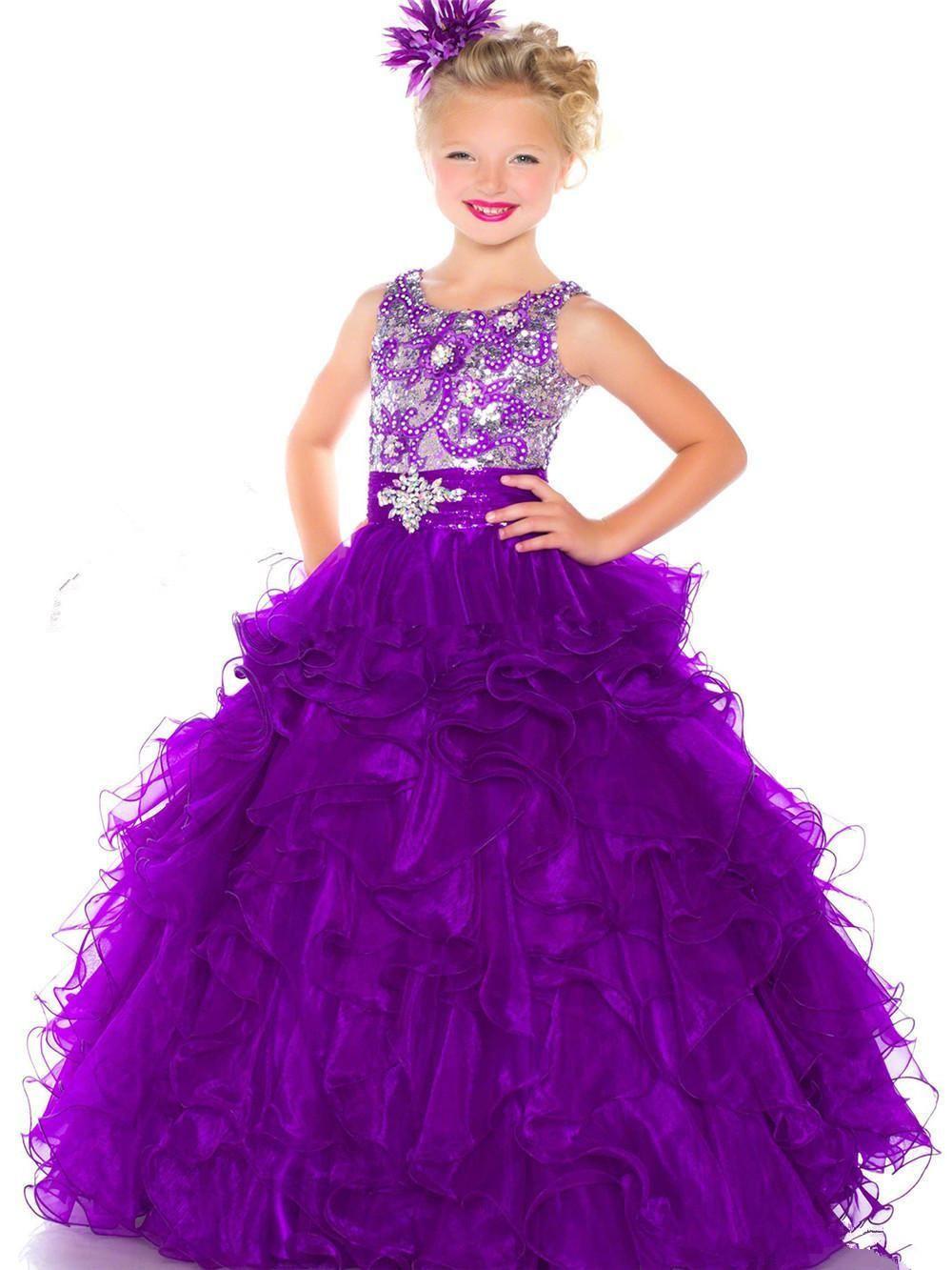 2016 Purple Girls Pageant Dress Beading Organza Jewel Crystal Floor ...