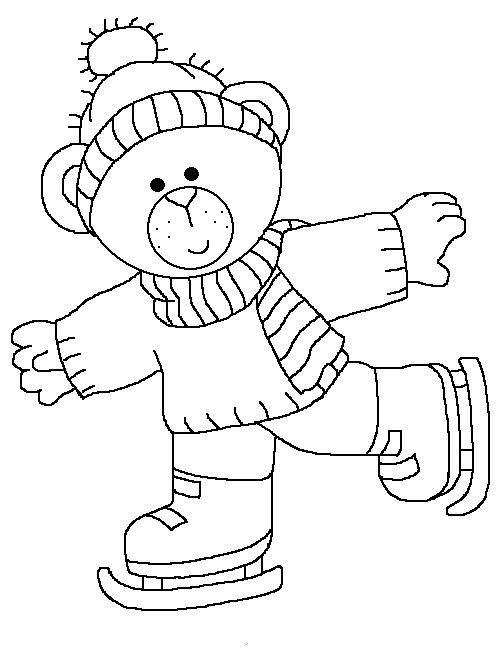 Ice Skating Bear Coloring Pages Winter Christmas Coloring Pages