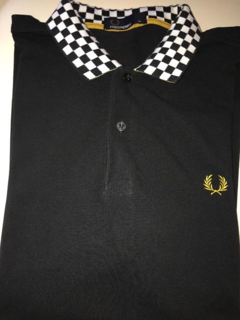 Fred Perry Polo Shirt, Two Tone Chequered Collar, Black