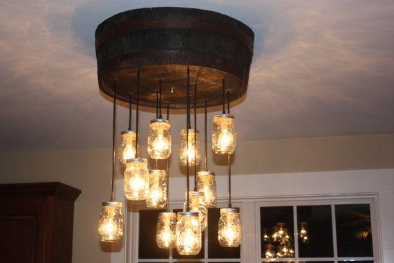 whiskey barrel mason jar chandelier jack daniels light my way