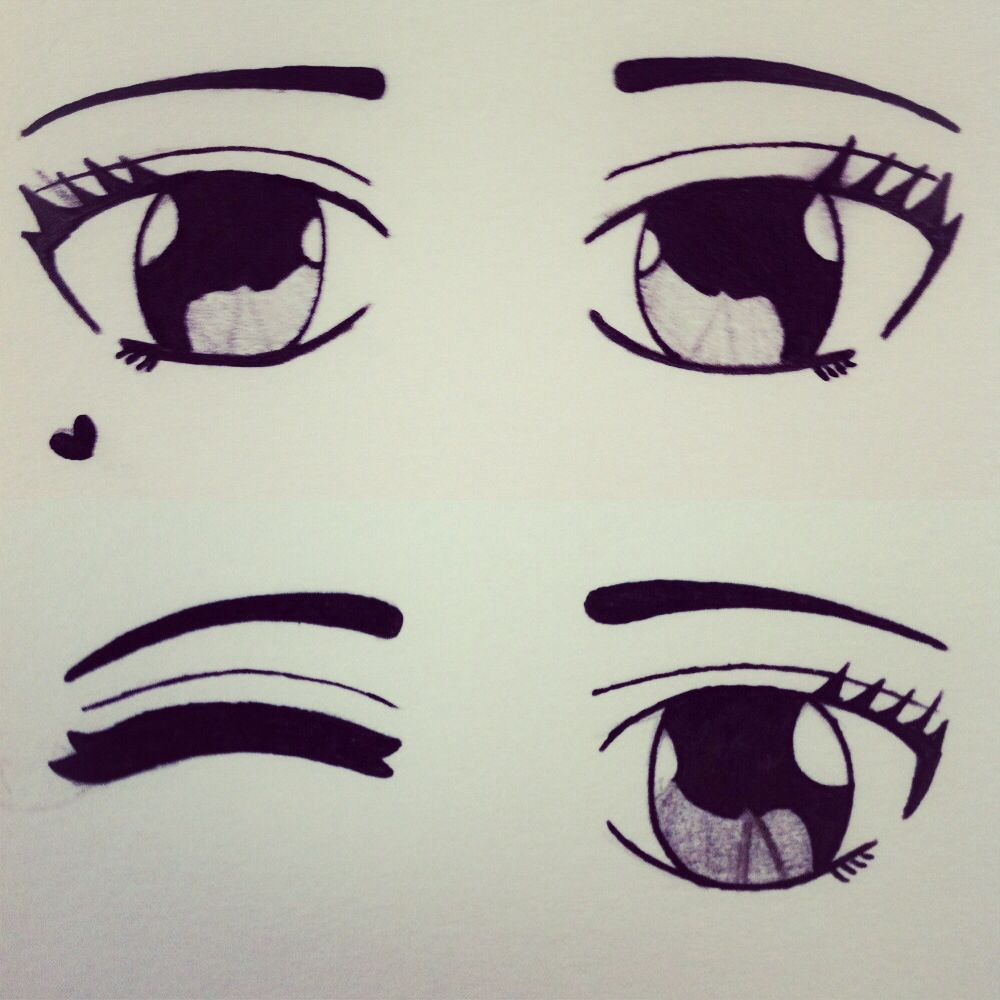 It is a photo of Punchy Cute Anime Eyes Drawing