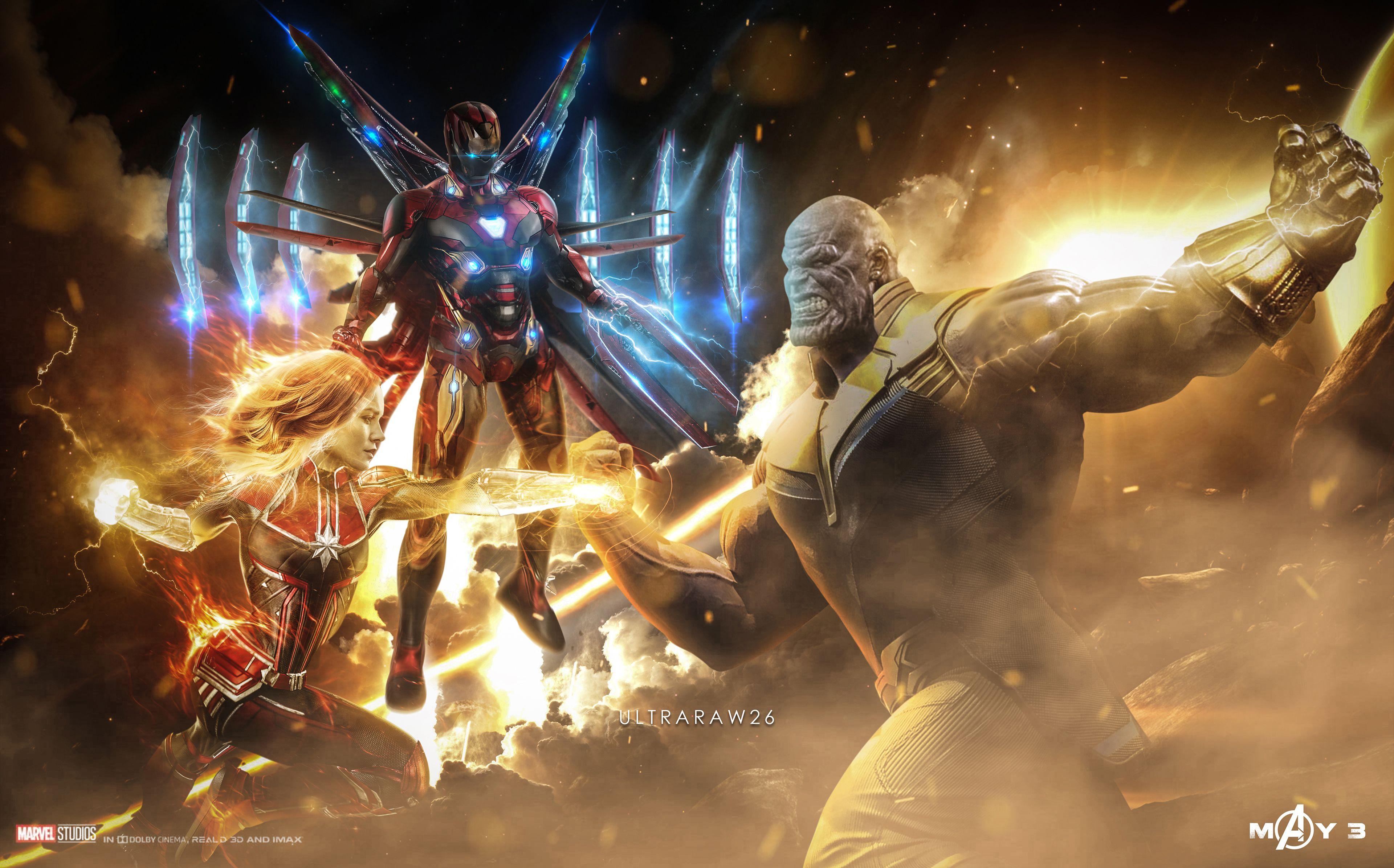 Captain Marvel Thanos Iron Man 4k Artwork Thanos Wallpapers