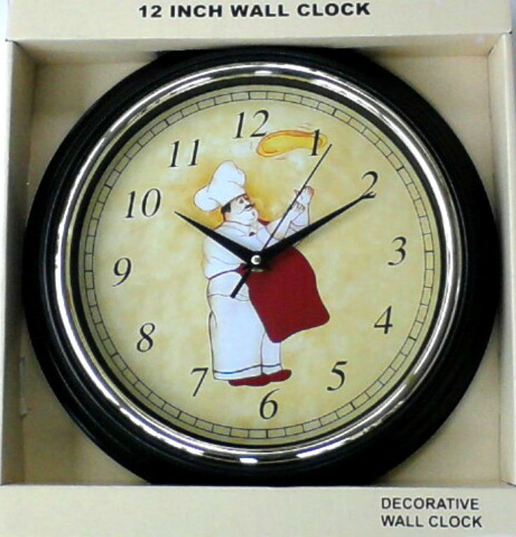 Fatchef Bistro Pizza 12 Hr Wall Clock Kitchen Decor 12 Red Black Tans Gold Nib Kitchen Wall Clocks Clock Kitchen Decor