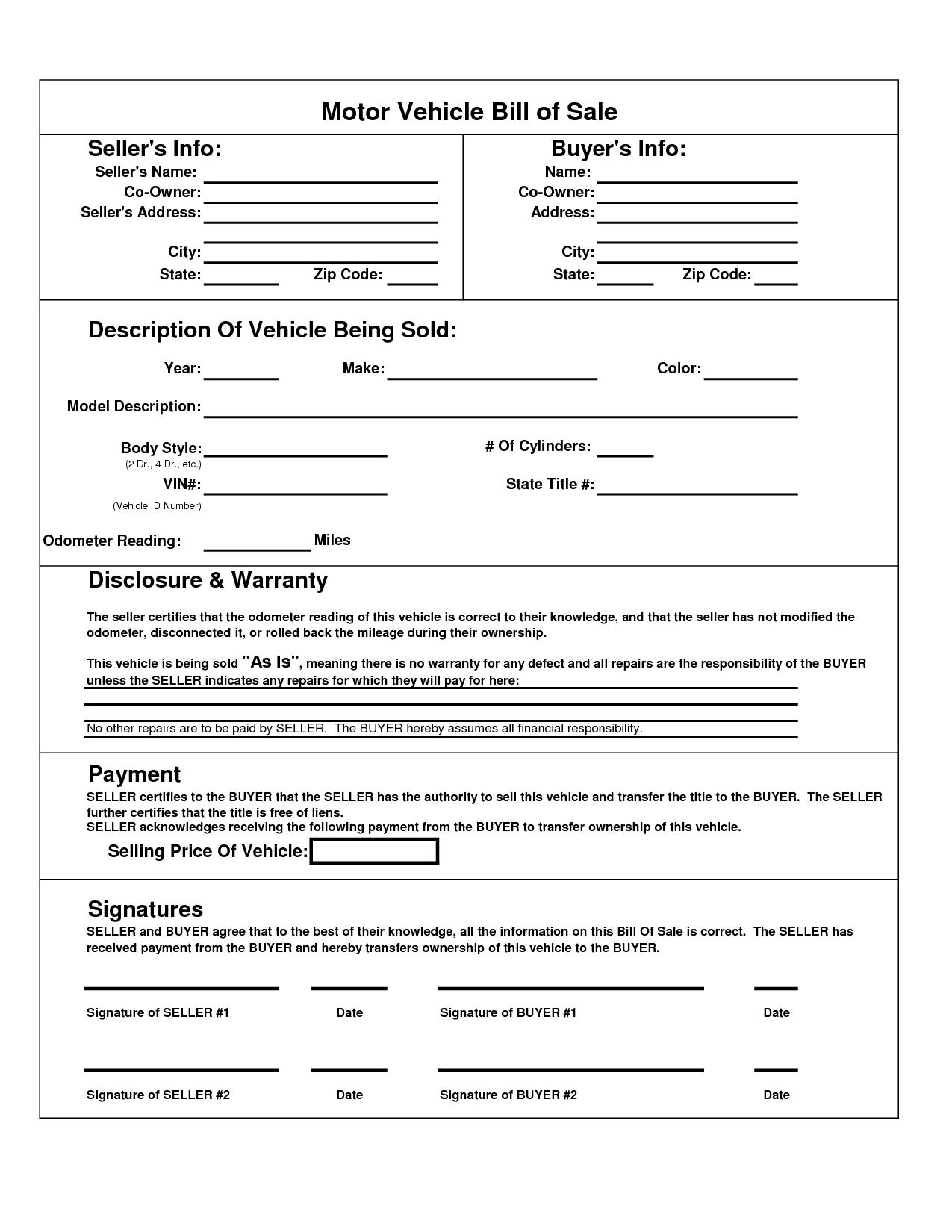 Texas Motor Vehicle Bill Sale Form