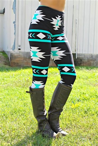 Aztec Print Leggings - Mint are leggings with elastic waist and super soft material.  Measurements 39' Length, 29' Inseam, and 36' Waist (completely stretched)