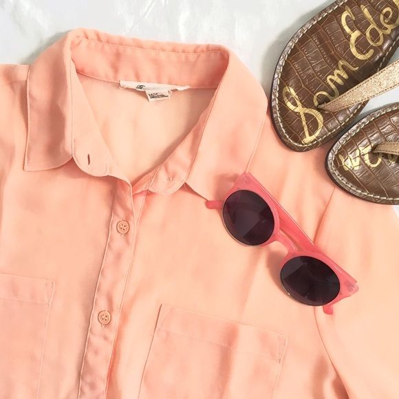Peach Chiffon Shirt  Cute peachy button up!  It has been worn a handful of times, but still in excellent condition! It is a bit see-through. Fits true to size. Only $7 when bundled! Forever 21 Tops Button Down Shirts