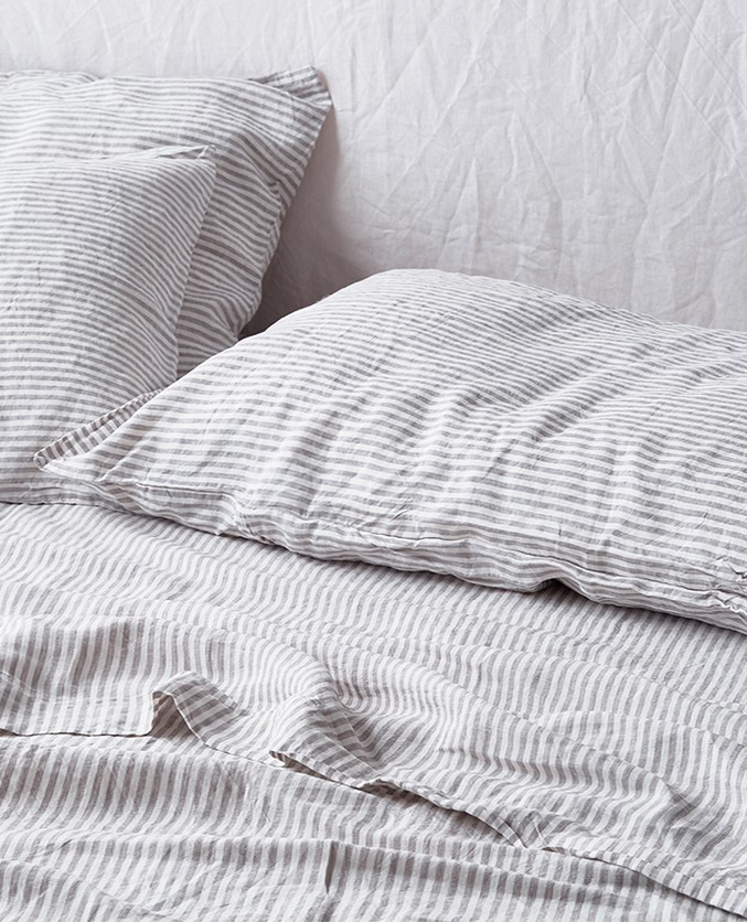 Soft Grey Striped French Linen Sheet Set Will Add Character To Any Bedroom E