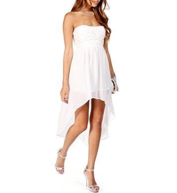 Perla-White+Strapless+Hi+Lo+Dress