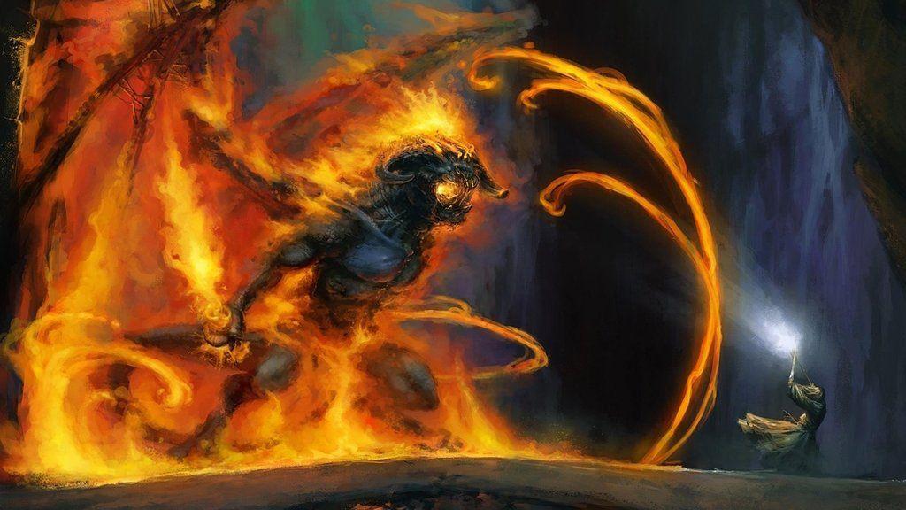 Breath-taking drawing of Gandalf facing the Balrog of Morgoth