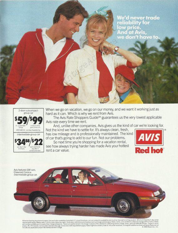 avis rent a car original 1988 vintage color by vintageadorama 1980 39 s magazine ads vintage. Black Bedroom Furniture Sets. Home Design Ideas