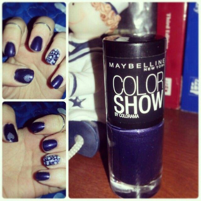 Blue and dote nail art