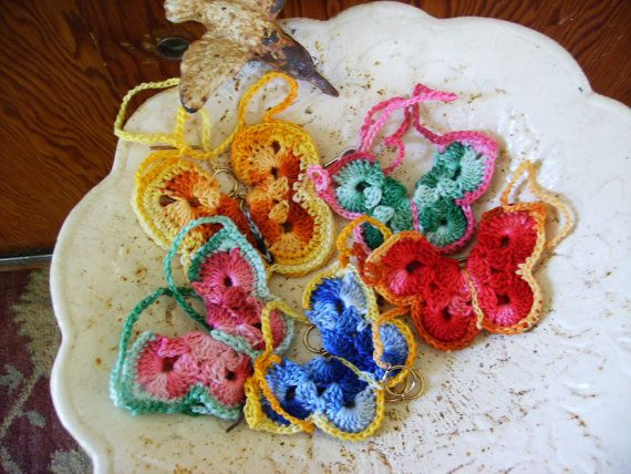 Beautiful and Colorful Crochet Thread Butterfly Necklace | Mariposas ...