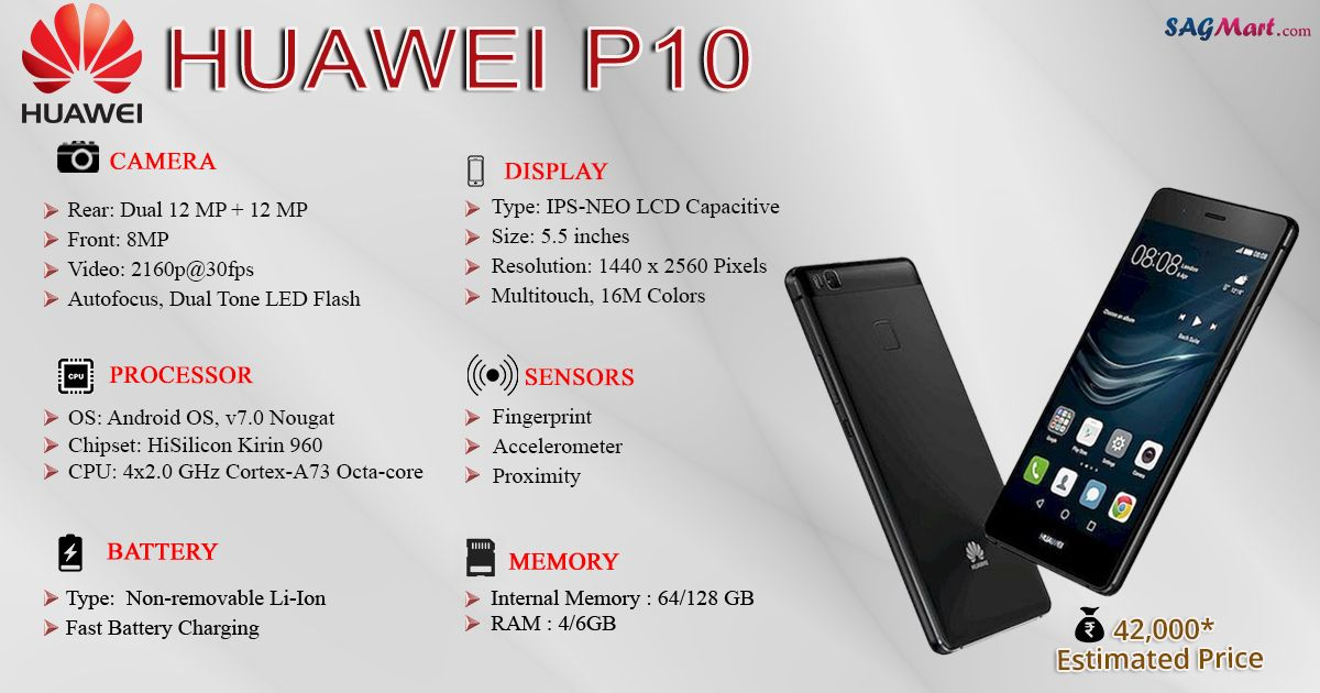 This Infographic Shows You All The Specification Features And Price Of The Upcoming Huawei P10 Smartphone Huawei Smartphone Samsung Galaxy Phone