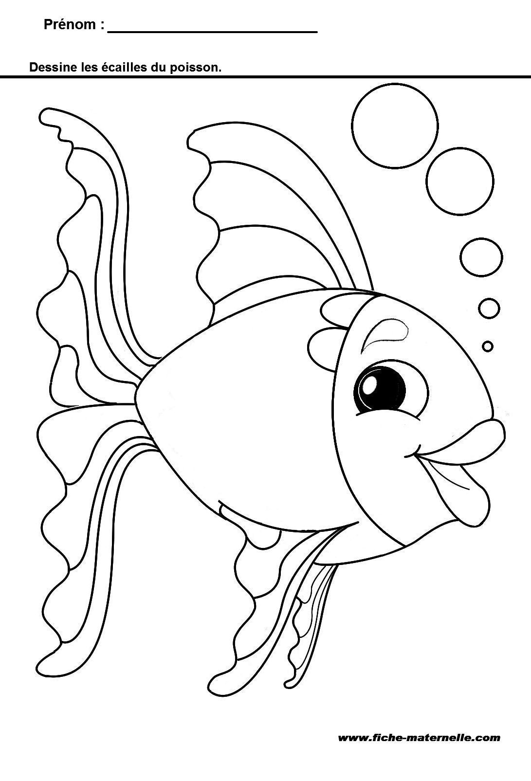 Apprendre  tracer des ponts les écailles du poisson Coloriage