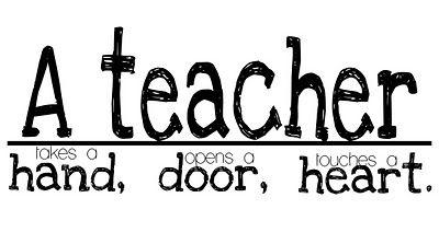 A teacher takes a hand, opens a door, touches a heart