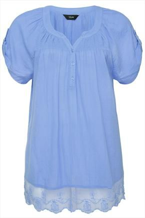 Blue+Crinkle+Cotton+Gypsy+Blouse+With+Floral+Lace+Trim++48697