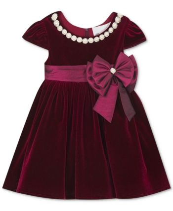 f6d41052a Rare Editions Baby Girls Embellished Velvet Dress - Red 6-9 months ...