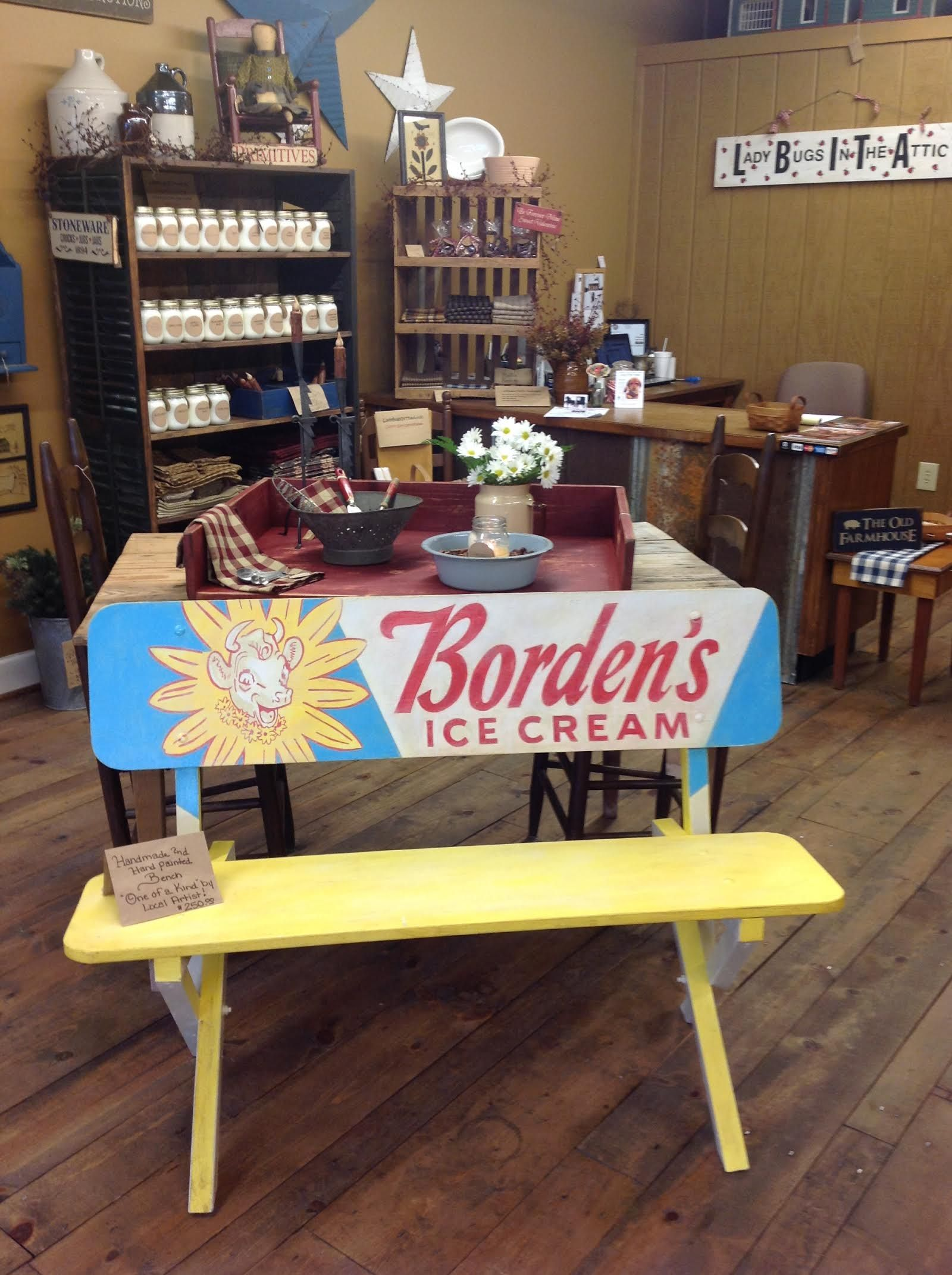 We Have a Beautiful Handmade and Hand Painted One of a Kind Bench....By a Local Dunn NC Artist !!! — at LadyBugsInTheAttic.