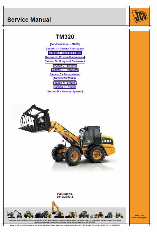 Jcb Tm320 Wheeled Loader Shovel Service Manual Manual Shovel Repair Manuals